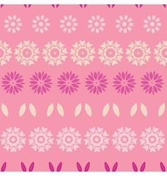 Pink abstract flowers stripes seamless pattern vector image