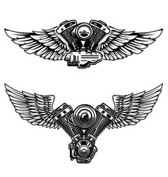 set of winged motorcycle engine design elements vector image