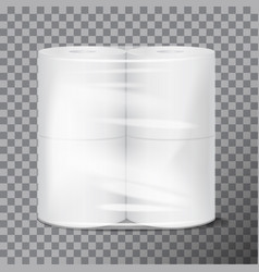 toilet paper package white mock up with vector image
