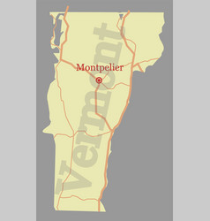 vermont accurate high detailed state map with vector image vector image