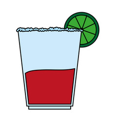 color image cartoon glass cup of cocktail with vector image vector image