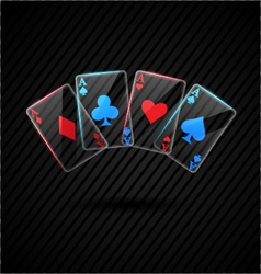 four Glass poker aces playing cards vector image