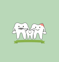 healthy teeth family smile and happy vector image vector image