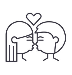 kissing couple line icon sign vector image