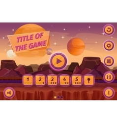 Sci-fi game cartoon user interface with control vector image