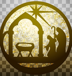 Adoration of the Magi silhouette icon gold vector image vector image