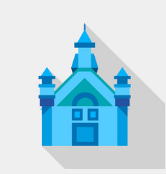 blue castle icon flat style vector image vector image