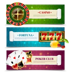 Casino 3 horizontal banners set vector
