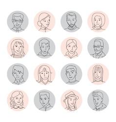 People avatar set thin line vector image