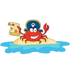 Pirate Crab Holding A Treasure Map On Island vector image vector image