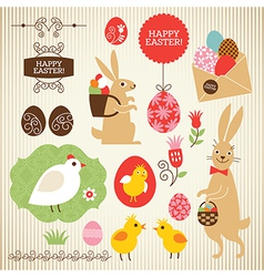 Set of Easter elements vector image vector image