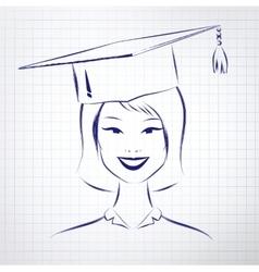 Student girl wearing graduation hat vector image