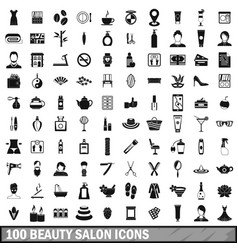 100 beauty salon icons set in simple style vector image