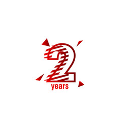 2 years anniversary celebration template design vector