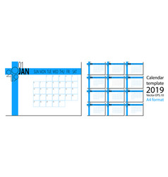 2019 new year calendar in clean minimal vector image
