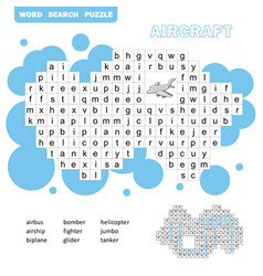 air transport crossword game search words game vector image