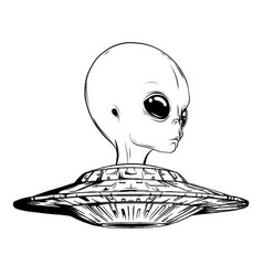 aliens and ufo objects and design elements vector image