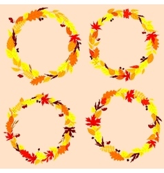 Autumnal leaves wreaths or frames vector image