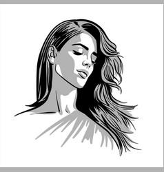 Beautiful girl portrait brunette woman vector