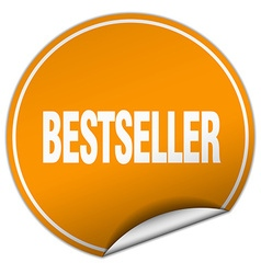 Bestseller round orange sticker isolated on white vector