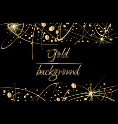 Black background with gold abstract shapes vector