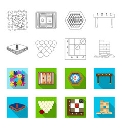 Board game outlineflat icons in set collection vector