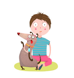 boy and dog friends vector image