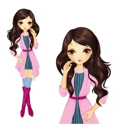 Brunette Girl In Pink Coat vector image