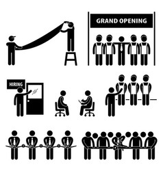 business grand opening scissor cutting ribbon vector image