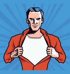 businessman rips his shirt super strong man vector image