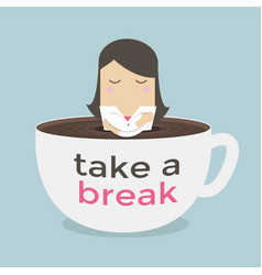 Businesswoman take a break in a coffee cup vector
