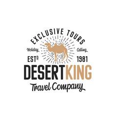 camel logo template concept travel company vector image
