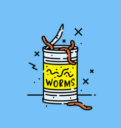 Can worms icon vector