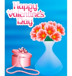 Card with flowers and a necklace with a Happy vector
