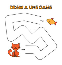 cartoon cat draw a line game for kids vector image