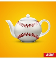 Ceramic Teapot In Baseball Ball Style vector