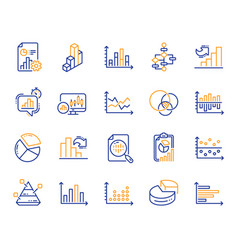 Charts and diagrams line icons set of 3d chart vector