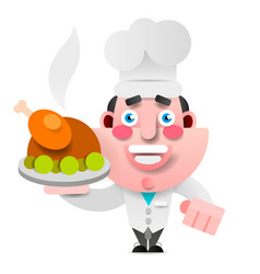 chef with roast duck on a tray bon appetit logo vector image