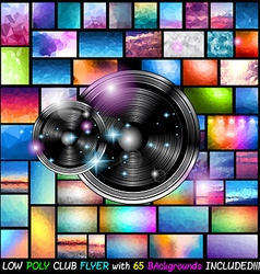 Club Flyer with 65 low poly backgrounds included vector