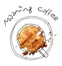 Coffee cup watercolor and sketch vector image