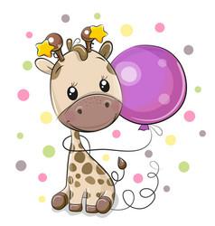 Cute cartoon giraffe with balloon vector