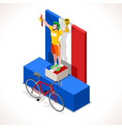 Cyclist Tour Winner Isometric People 3D vector image