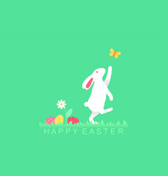 easter bunny playing with butterfly and easter egg vector image