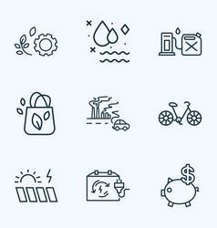 Ecology icons line style set with rechargeable box vector