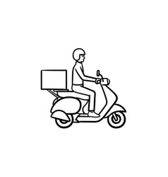 employee riding delivery bike hand drawn outline vector image