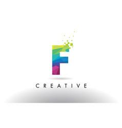 F colorful letter origami triangles design vector