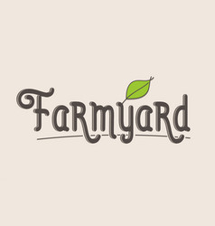 Farmyard word text typography design logo icon vector