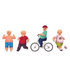 Fat boy doing sport exercises cycling running vector