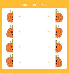 find half for halloween pumpkin vector image