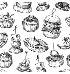 Finger food seamless pattern food vector